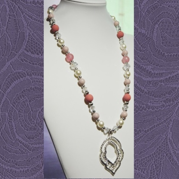 Get A Gift - Give Some Love Jewelry - Silver Pink Pearl Jewelry Set